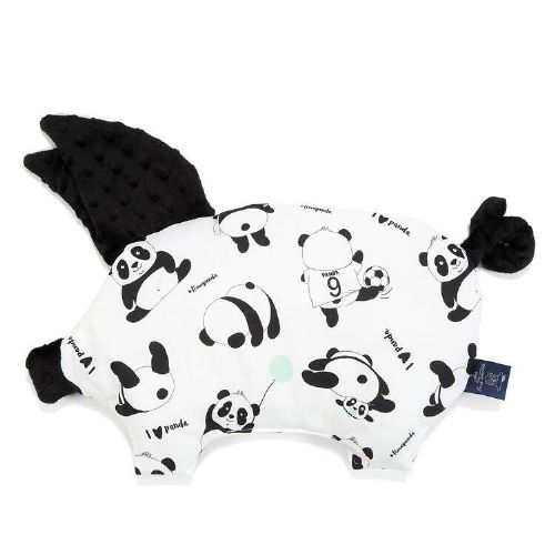 La Millou I LOVE PANDA SLEEPY PIG PILLOW (BLACK)